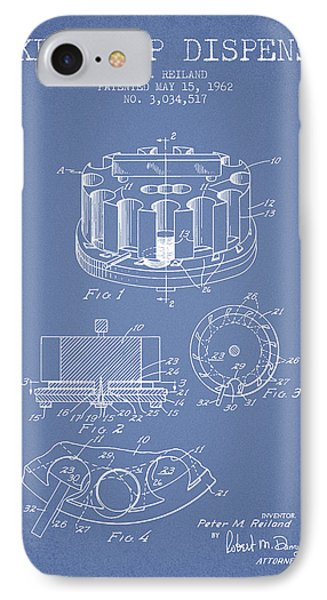 Poker Chip Dispenser Patent From 1962 - Light Blue IPhone Case by Aged Pixel