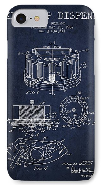 Poker Chip Dispenser Patent From 1962 - Navy Blue IPhone Case by Aged Pixel