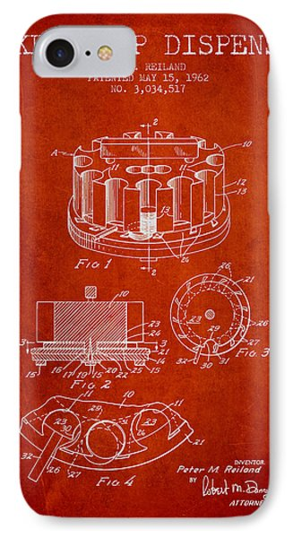 Poker Chip Dispenser Patent From 1962 - Red IPhone Case by Aged Pixel
