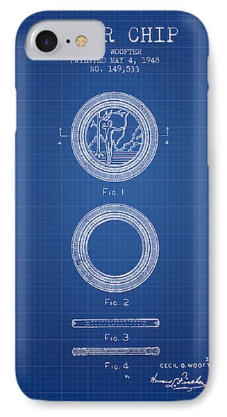 Poker Chip Patent From 1948 - Blueprint IPhone Case by Aged Pixel