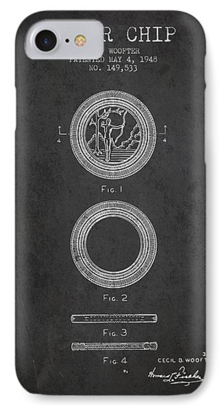 Poker Chip Patent From 1948 - Charcoal IPhone Case by Aged Pixel