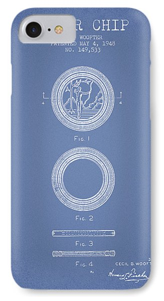 Poker Chip Patent From 1948 - Light Blue IPhone Case by Aged Pixel