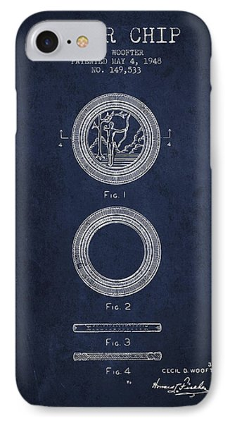 Poker Chip Patent From 1948 - Navy Blue IPhone Case by Aged Pixel