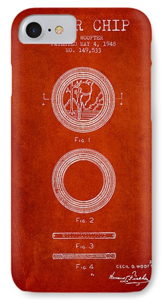 Poker Chip Patent From 1948 - Red IPhone Case by Aged Pixel