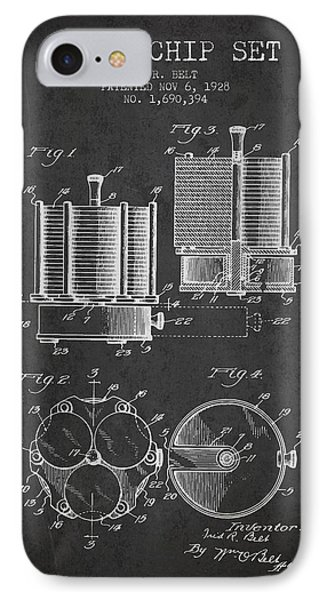 Poker Chip Set Patent From 1928 - Charcoal IPhone Case by Aged Pixel