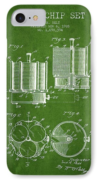 Poker Chip Set Patent From 1928 - Green IPhone Case by Aged Pixel