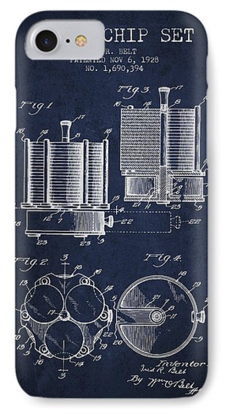 Poker Chip Set Patent From 1928 - Navy Blue IPhone Case by Aged Pixel