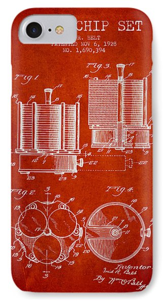 Poker Chip Set Patent From 1928 - Red IPhone Case by Aged Pixel