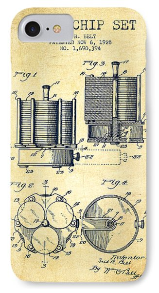 Poker Chip Set Patent From 1928 - Vintage IPhone Case by Aged Pixel