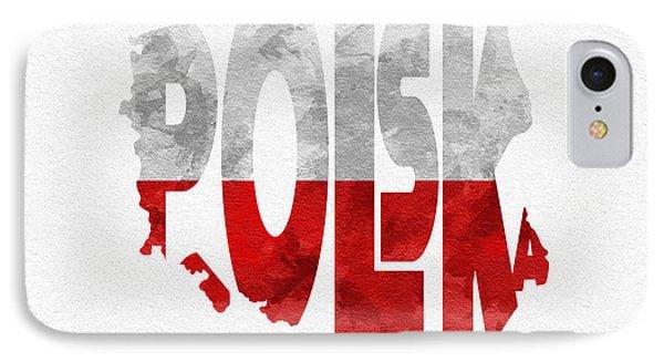 Poland Typographic Map Flag IPhone Case by Ayse Deniz
