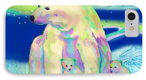 IPhone Case featuring the painting Polar Bear Aurora by Teresa Ascone