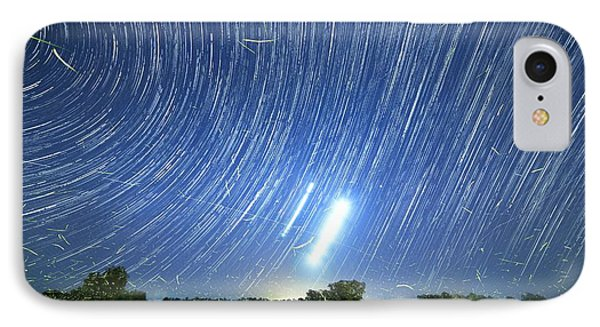 Polar Star Trails And Fireflies IPhone Case by Luis Argerich