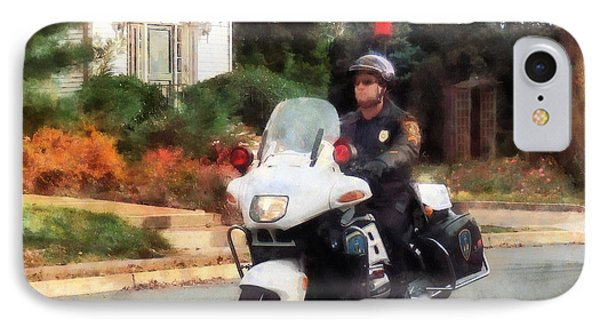 Police - Motorcycle Cop On Patrol Phone Case by Susan Savad