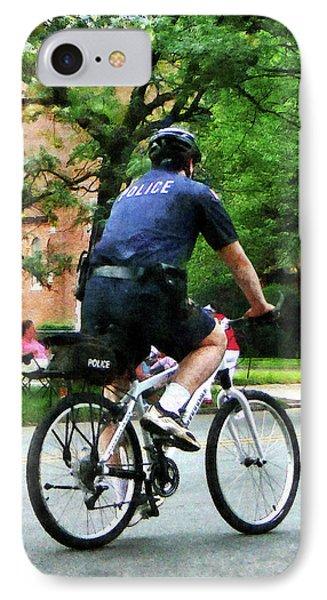 Policeman - Police Bicycle Patrol Phone Case by Susan Savad