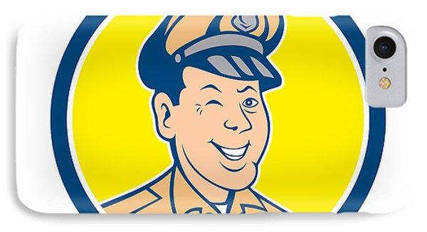 Policeman Winking Smiling Circle Cartoon IPhone Case by Aloysius Patrimonio