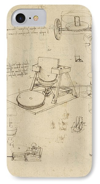 Polishing Machine Formed By Two Wheeled Carriage From Atlantic Codex Phone Case by Leonardo Da Vinci
