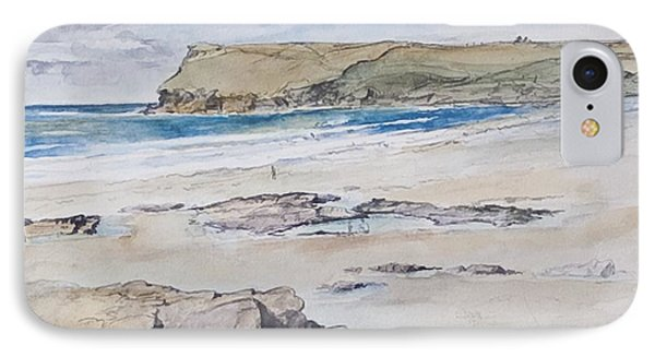 Polzeath And Pentire Head IPhone Case by Caroline Hervey-Bathurst