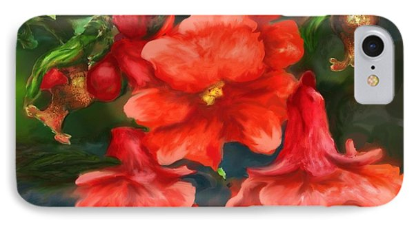 IPhone Case featuring the painting Pomegranate Blooms Floral Painting by Judy Filarecki