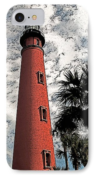 Ponce Lighthouse Artistic Brush IPhone Case by G L Sarti