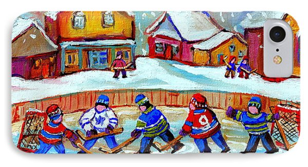 Pond Hockey Game IPhone Case by Carole Spandau