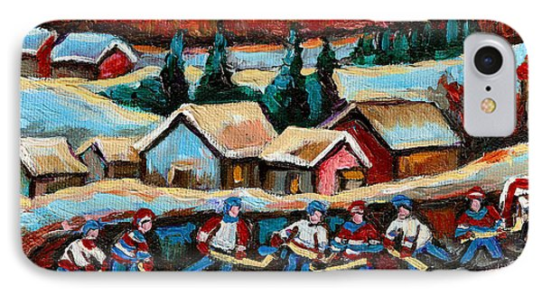 Pond Hockey Game In The Country IPhone Case by Carole Spandau