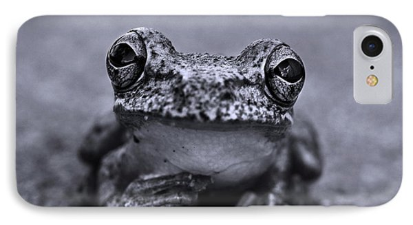 Pondering Frog Bw IPhone Case by Laura Fasulo