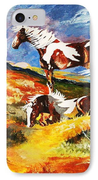 IPhone Case featuring the painting Ponies At Sunset by Al Brown