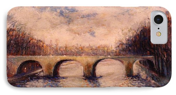 IPhone Case featuring the painting Pont Sur La Seine by Walter Casaravilla