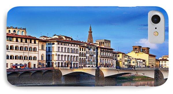 Ponte Vecchio Bridge At Twilight Phone Case by Susan Schmitz
