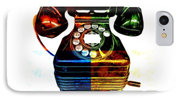 Pop Art Vintage Telephone 4 IPhone Case by Edward Fielding