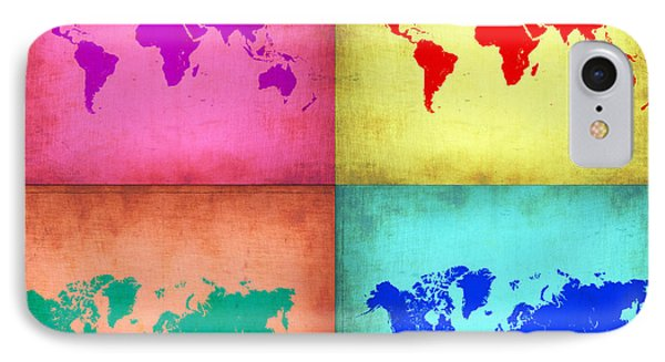 Pop Art World Map 1 Phone Case by Naxart Studio