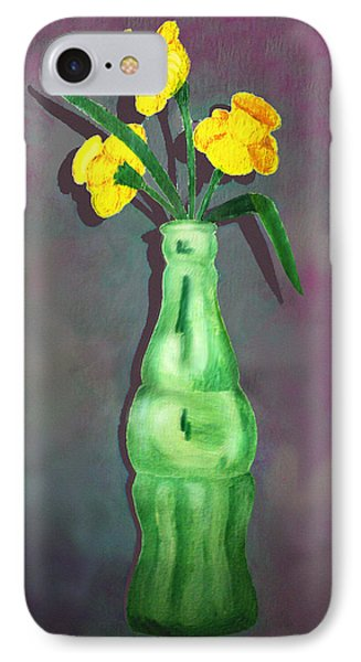 Pop Bottle Daffodil IPhone Case by Ginny Schmidt