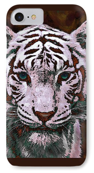 Popart White Tiger- Larger Phone Case by Jane Schnetlage