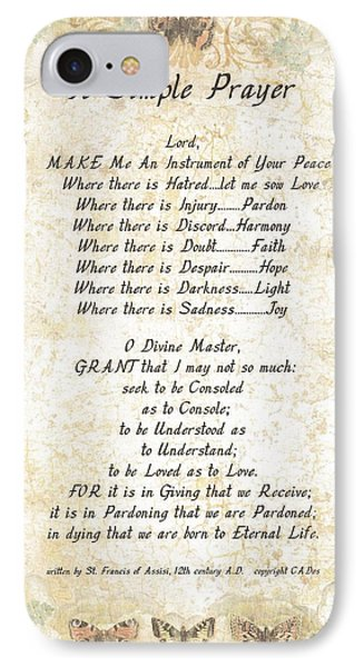 Pope Francis St. Francis Simple Prayer Butterflies Phone Case by Desiderata Gallery
