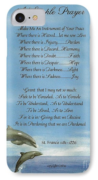 Pope Francis St. Francis Simple Prayer Dance Of The Dolphins Phone Case by Desiderata Gallery