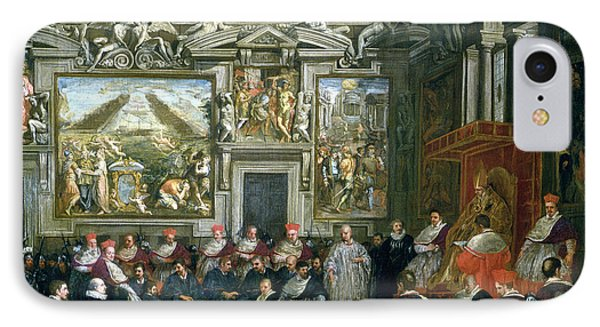 Pope Paul V 1522-1621 With An Audience, 1620 Oil On Canvas IPhone Case