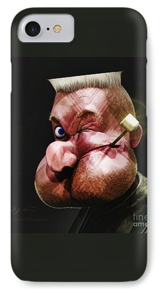 IPhone Case featuring the painting Popeye Portrait by Dave Luebbert