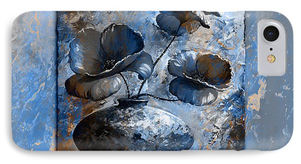 Poppies 02 - Style Blue Peach IPhone Case by Emerico Imre Toth