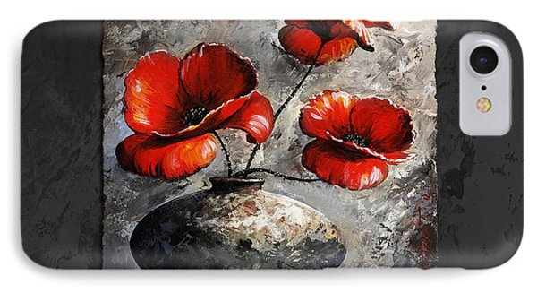 Poppies 02 - Style Black White And Red IPhone Case by Emerico Imre Toth