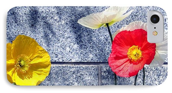 IPhone Case featuring the digital art Poppies And Granite by Will Borden