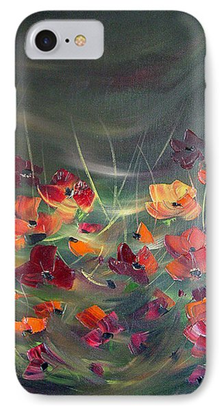 IPhone Case featuring the painting Poppies In The Shadow by Dorothy Maier