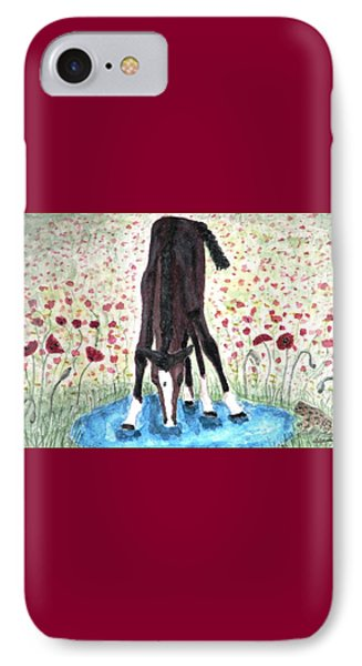 IPhone Case featuring the painting Poppies N  Puddles by Angela Davies