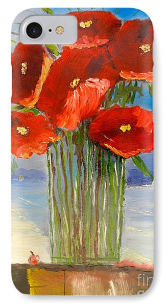IPhone Case featuring the painting Poppies On The Window Ledge by Pamela  Meredith