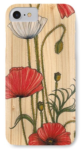 Poppies On Wood Phone Case by Snezana Kragulj