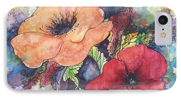 IPhone Case featuring the painting Poppy Flowers Orange And Red by Christy  Freeman