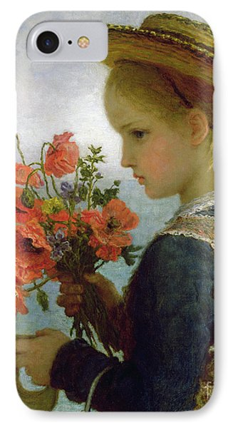 Poppy Girl IPhone Case by Karl Wilhelm Friedrich Bauerle