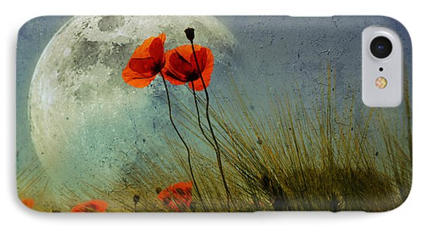 Poppy In The Moon Phone Case by manhART
