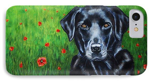 Poppy - Labrador Dog In Poppy Flower Field IPhone Case by Michelle Wrighton