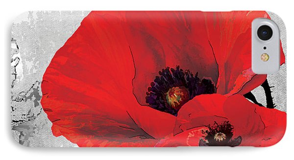 Poppy Red And Black A IPhone Case by Grace Pullen