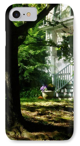 Porch With Pot Of Chrysanthemums Phone Case by Susan Savad